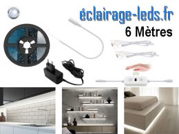 Bandeau LED 6M dimmable blanc froid interrupteur sans contact 12v