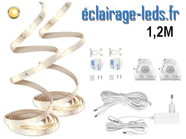 Bandeaux LED 1M blanc chaud capteur de mouvement 12v