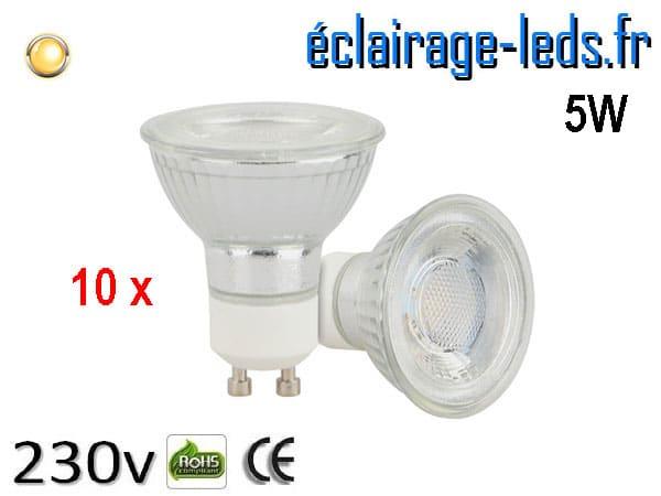 10 Ampoules led GU10 5w COB blanc chaud 230v