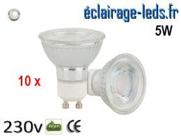 10 Ampoules led GU10 5w COB blanc naturel 230v