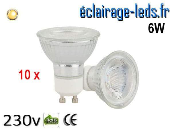 10 Ampoules led GU10 6 watts COB blanc chaud 230 volts