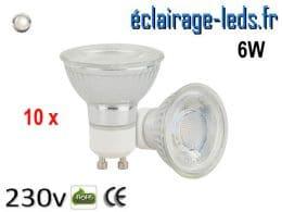 10 Ampoules led GU10 6w COB blanc naturel 230 volts
