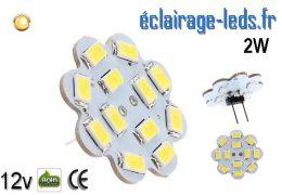 Ampoule LED G4 flower 12 led blanc chaud smd 12v