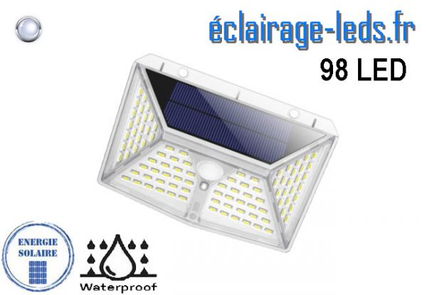 Applique Solaire 98 LEDs blanc froid IP65