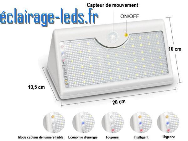 Applique Solaire grise 60 LEDs blanc froid