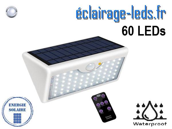 Applique Solaire grise 60 LEDs blanc froid avec télécommande