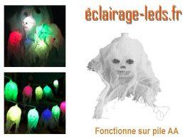 Guirlande LED Halloween 10 Crânes led multicolore