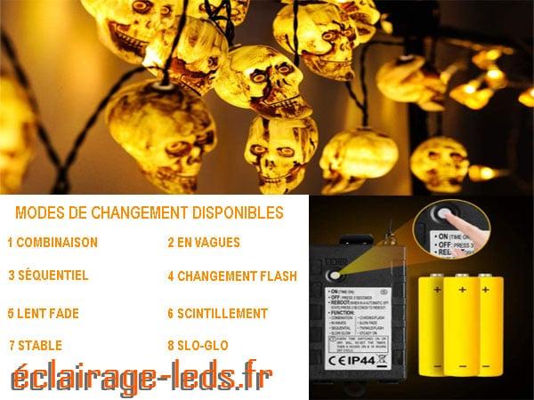 Guirlande lumineuse LED crâne halloween sur pile AA