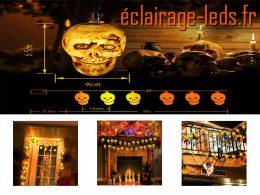 Guirlande lumineuse LED crâne halloween 3,5M sur pile