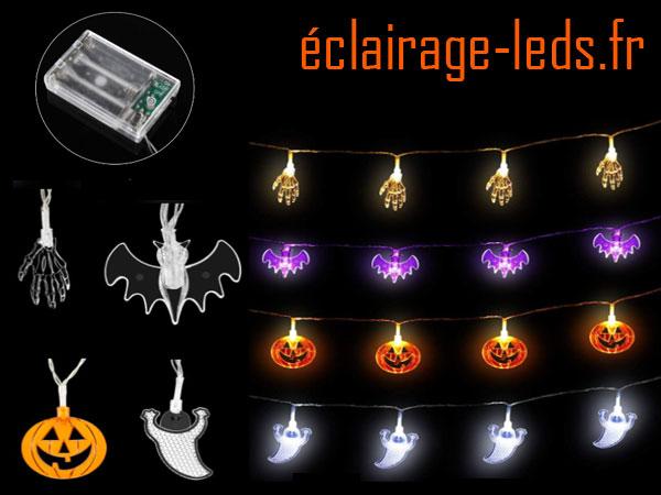 4 guirlandes lumineuses LED halloween 3M sur pile