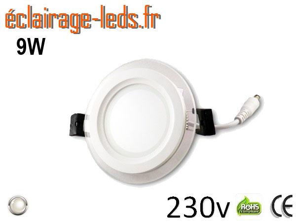Spot LED Slim 9w blanc perçage 100mm 230v