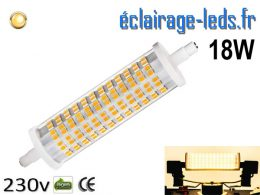 Ampoule LED R7S crayon 18w 118mm blanc chaud