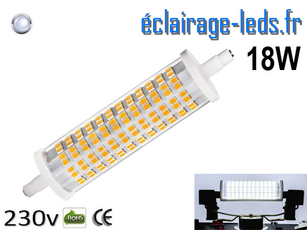 Ampoule LED R7S crayon 18w 118mm blanc froid
