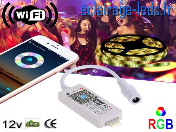 Contrôleur RGB Wifi pour bandeaux LED RGB 12V