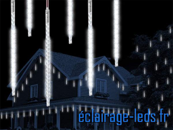 Guirlande LED 10 tubes effet neige blanc froid étanche 230v