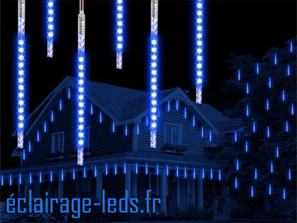 Guirlande LED 10 tubes 50 cm effet neige bleu étanche 230v