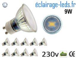 10 Ampoules led GU10 9W blanc froid 6400K 230v