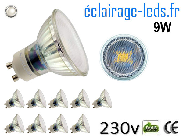 10 Ampoules led GU10 9W blanc naturel 4000K 230v