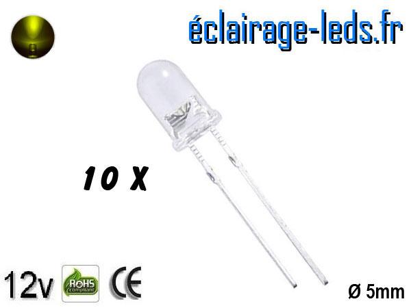 Lot de 10 LEDs jaunes 700 mcd 570 nm 30°