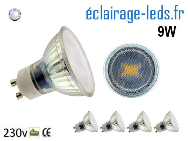 5 Ampoules led GU10 9W blanc froid 6400K 230v