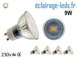 5 Ampoules led GU10 9W blanc naturel 4000K 230v