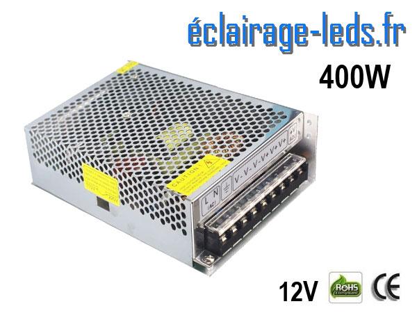 Transformateur LED 400W Pour Intégration 12V DC