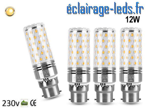 Ampoules led b22 maïs 12W blanc chaud 230v
