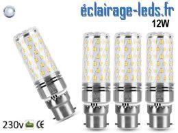 4 ampoules LED B22 maïs 12W blanc froid 230v