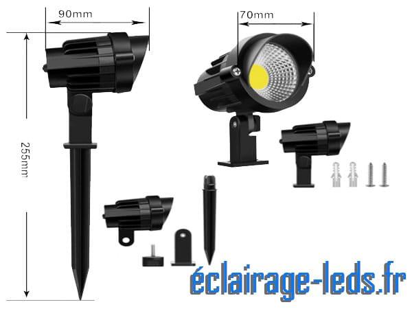 Lot de Projecteur LED 7W sur piqué 230v