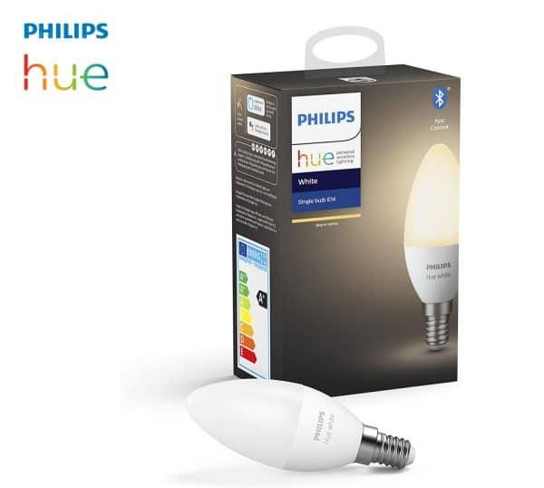 Ampoule LED E14 Philips HUE blanc chaud connectée