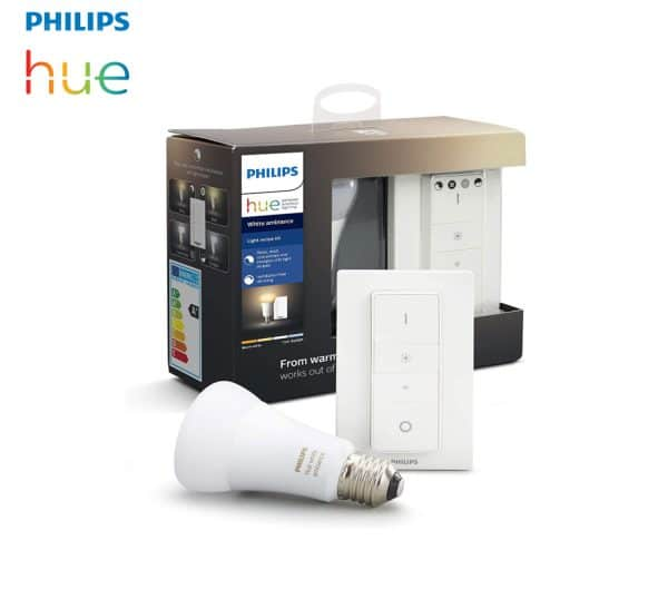 Ampoule LED E27 Philips HUE bi-color +télécommande 230v