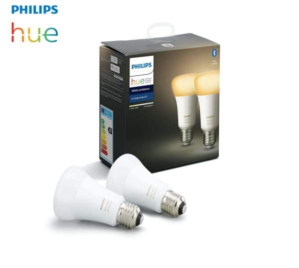 Kit 2 Ampoules E27 Philips Hue 2200K-6500K dimmable 230v