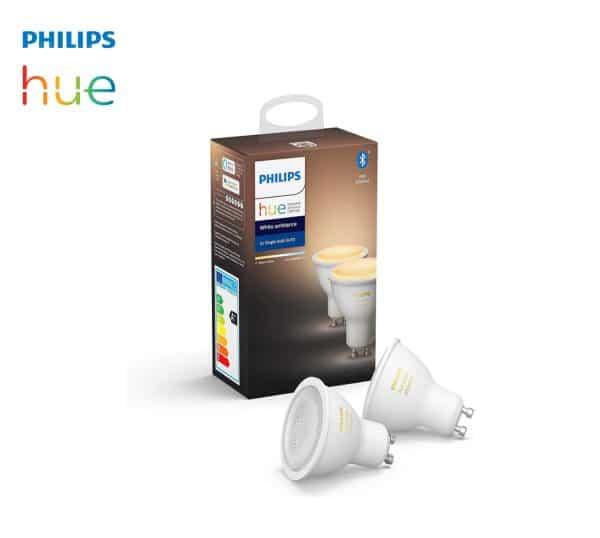 2 Ampoules GU10 Philips Hue 2200K-6500K connecté