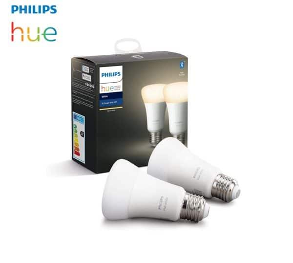 2 Ampoules LED E27 Philips HUE blanc chaud Bluetooth 230v