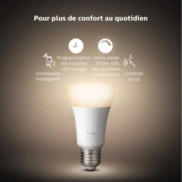 Kit 3 Ampoules LED E27 Philips Hue WW