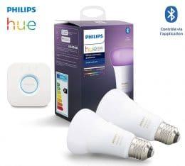 Kit ampoules led E27 Philips Hue RGB+ pont connexion