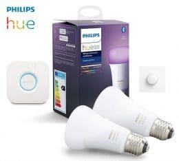 Kit Ampoules LED E27 Philips Hue + pont + interrupteur