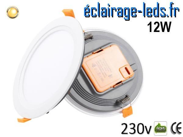 Spot LED Ultra fin 12w blanc chaud 230v