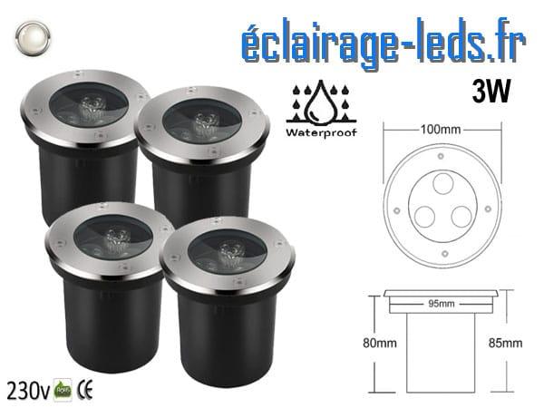 Spots LED encastrables sol 3w blanc naturel IP65 230v