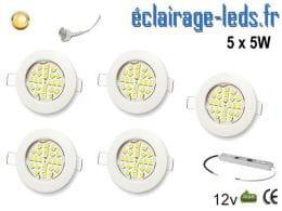 Lot de 5 spots MR16 fixe blanc 24 LED Blanc chaud perçage 60mm 12V