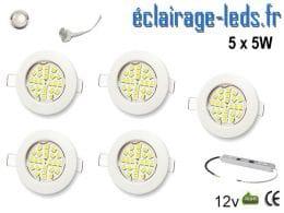 Lot de 5 spots MR16 fixe blanc 24 LED Blanc naturel perçage 60mm 12V