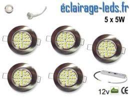 Lot de 5 spots MR16 fixe chrome 24 LED Blanc naturel 12V